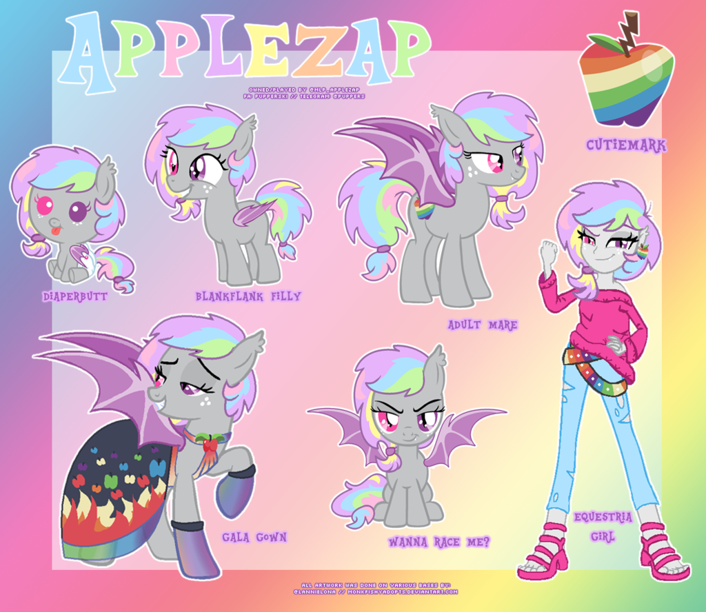 Most recent character: applezap the bat pony