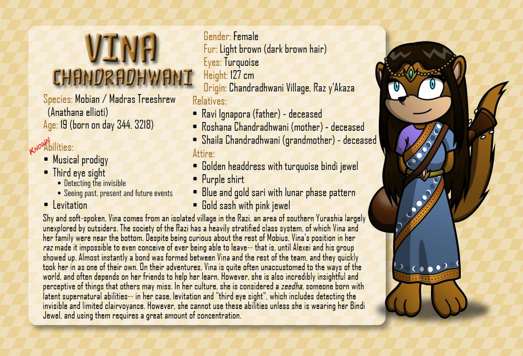 Most recent character: Vina Chandradhwani
