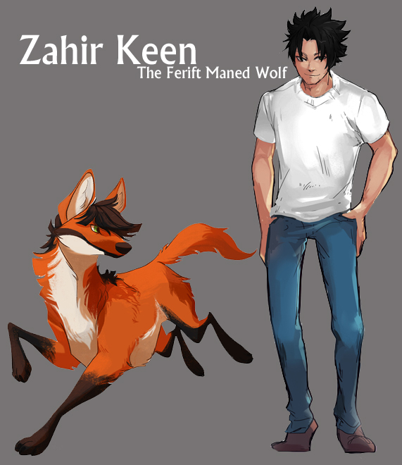 Most recent character: Zahir the Ferift Maned Wolf