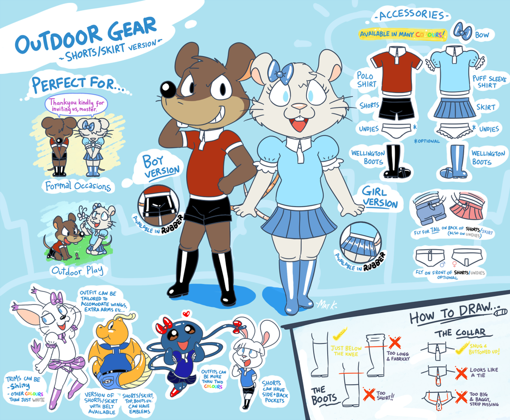Outfit ref - Outdoor Gear (shorts/skirt version)