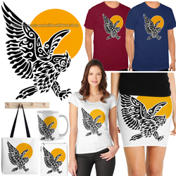 Great horned owl tribal tattoo