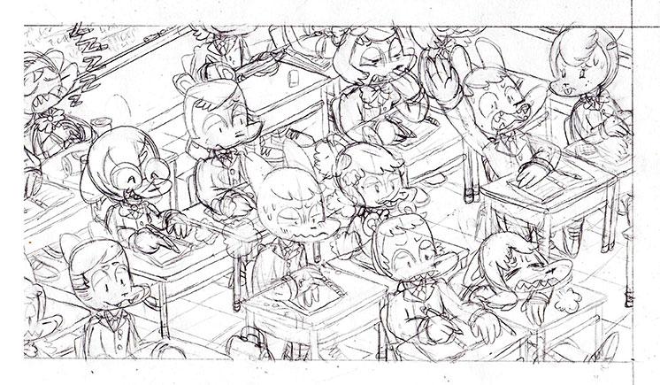School Boy Cat panel pencil whoo hoo