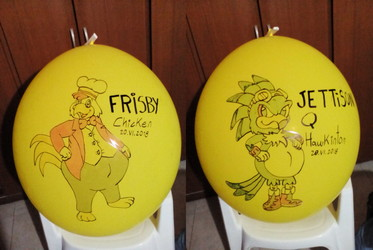 Pollo Frisby + Jettison the Hawk Balloons