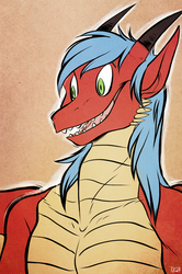 Happy-go-lucky dragon bust (by TuxedoDemon)
