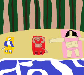 Me noodle and wendy at the beach