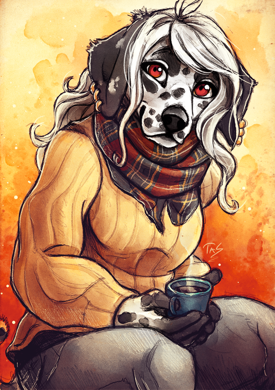 Dalmatian and Coffee - Sketch