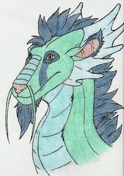 Dragon head: 3/4 view (Color)