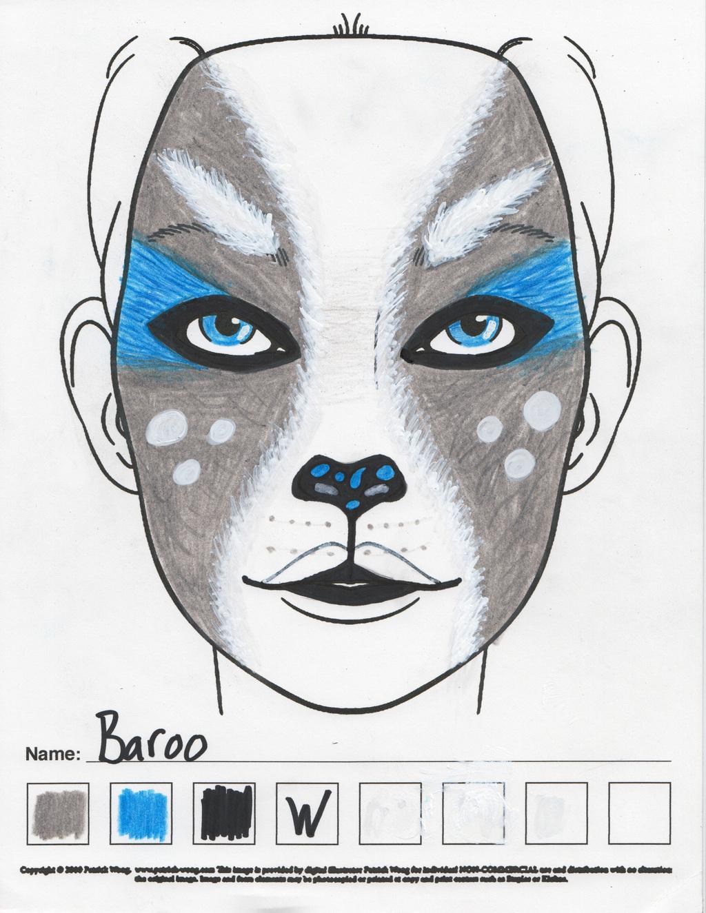 Baroo (ghost corgi-akita) makeup sketch