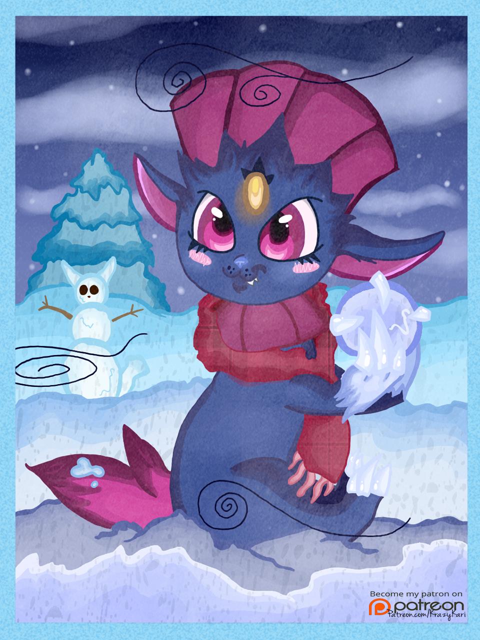 (Pokemon) Winter Weavile Making a Snowball