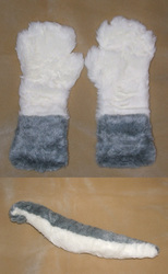 Grey and White Tail and Paws Set