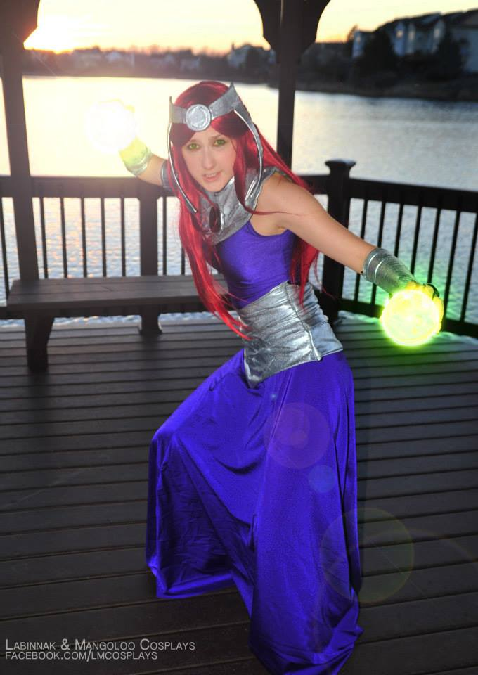 Starfire Formal Gown Cosplay w/Starbolts