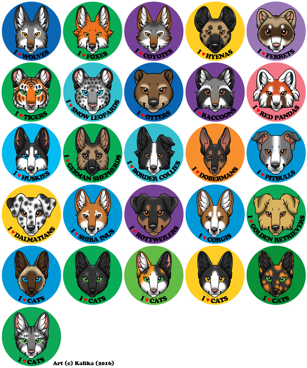 I Love Animals/Breeds Buttons (2016)