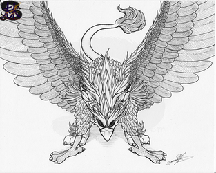 The Mighty Griffin - Inked - Traditional Art