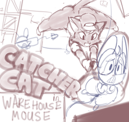 Catcher Cat in Warehouse Mouse Mockup Title Screen