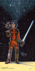 Ezra Bridger with Sith Holocron