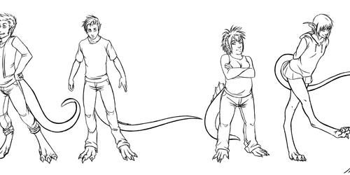 Commission - Four Humanized Creatures for Shadow