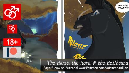 Horse, Horn & Hellhound - pg 5 on Patreon!