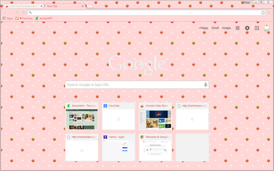 Pixel Strawberries on Pink - Google Chrome Theme