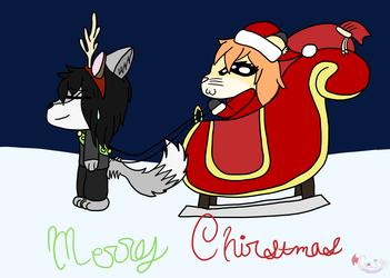 Santa Cait And SheldonDeer