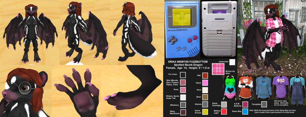 Featured image: Erika Fuzzbottom, Spotted Skunk Dragon - Ref Sheet