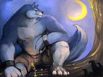 A wolf and the moon