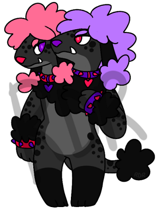 [SOLD] $20 Two-headed Pastel Goth Poodle Adoptable