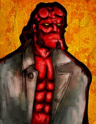 Hellboy on generic background