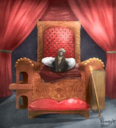 Royal cat on throne