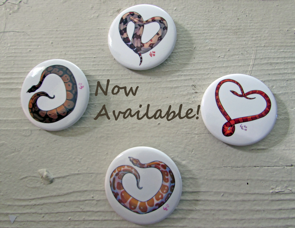 Featured image: Heart Snake Buttons: Now in Stock