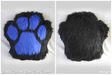 Black & Cobalt Single Sided Paw Pillow
