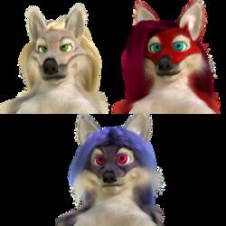 Blender model - Anthro wolf, fox, cat (censored)
