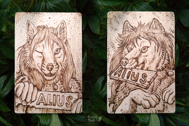 Alius-badge burned on wood
