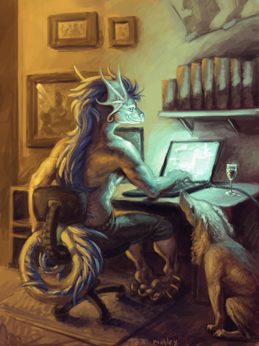 Rooth Laptopping with wine and Isis -- by dragonictoni