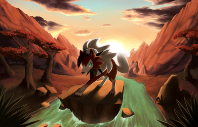 Lycanroc in the Sunset