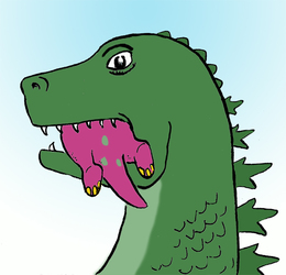Barney meets Godzilla
