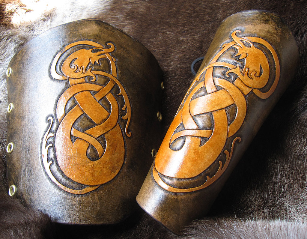 Brown and Gold Dragon Bracers