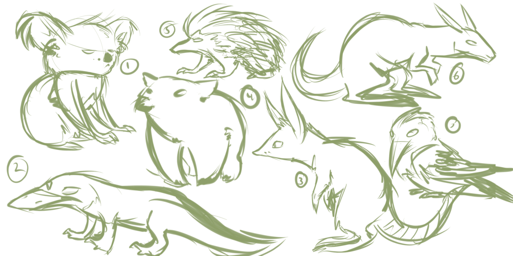 Australian Animal Sketch Dump