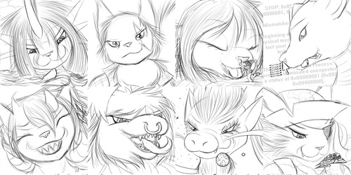 Expression Sketches 145-152