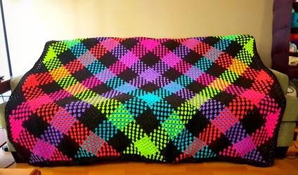 Neon plaid crochet blanket