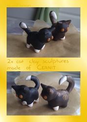 Handmade Clay Sculpture - Two random cats