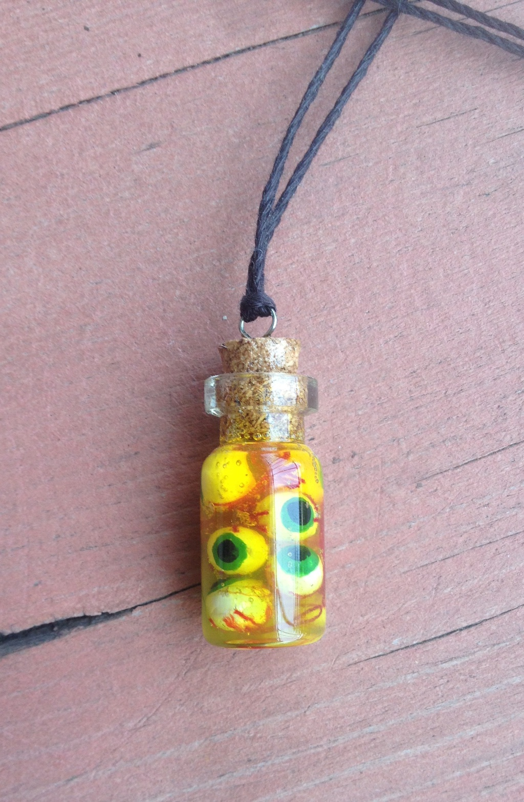 Jar of Eyeballs Charm Necklace
