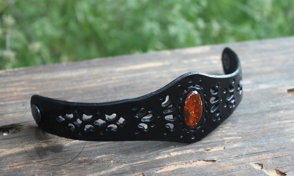 Black Filigree Bracelet w/ Amber Inlay