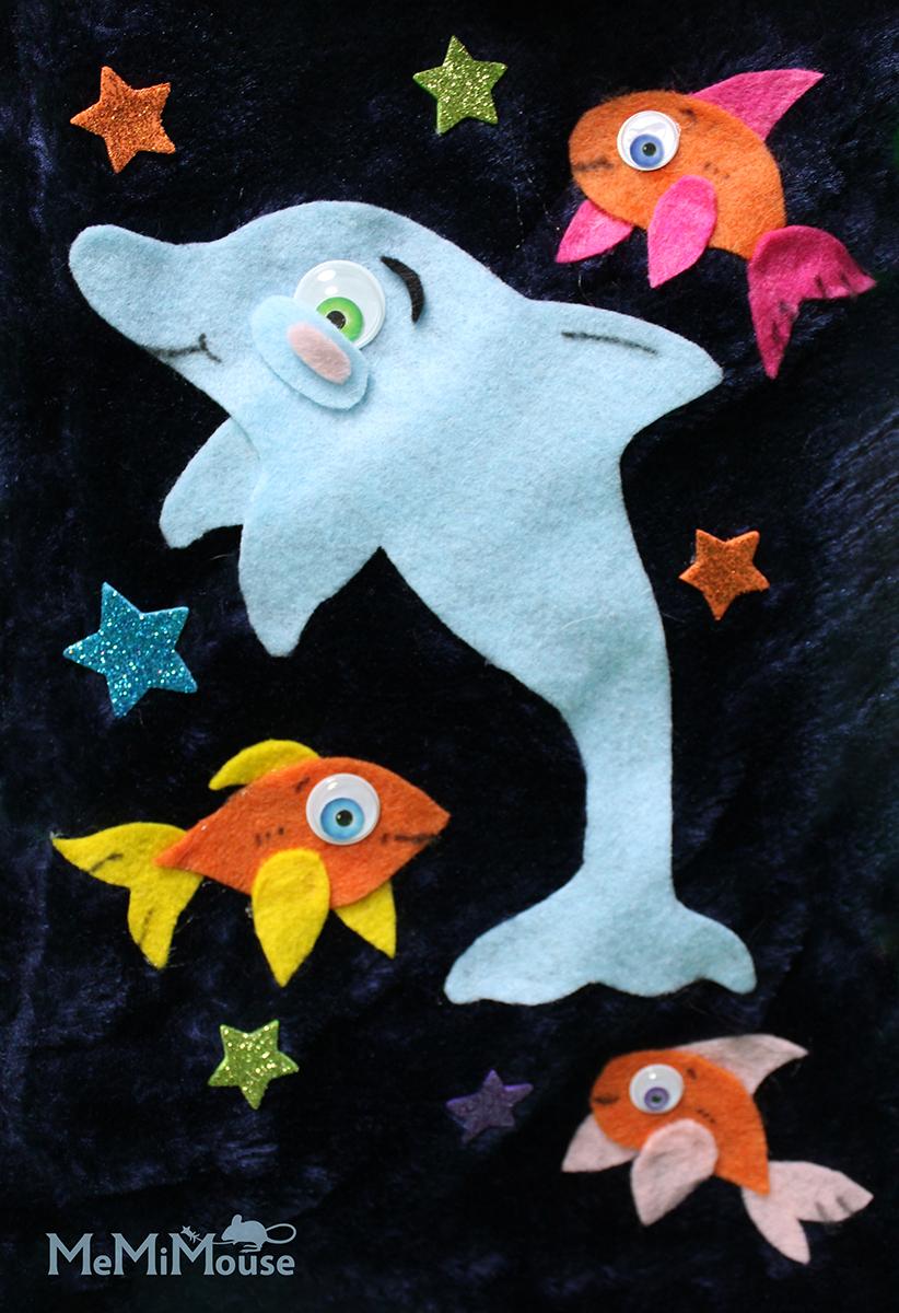 Happy Dolphin Felt Collage