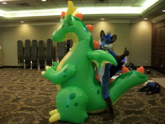 Blue Fox on a inflatable.