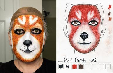 Red Panda makeup 1st try vs sketch