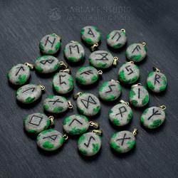 Elder Futhark runestones with moss, pendants - for sale