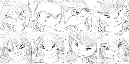 Expression Sketches 113-120