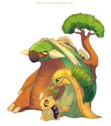 Turtwig Grotle and Torterra