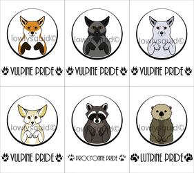 Colored Species Pride Badges: Vulpine, Procyonine, & Lutrine