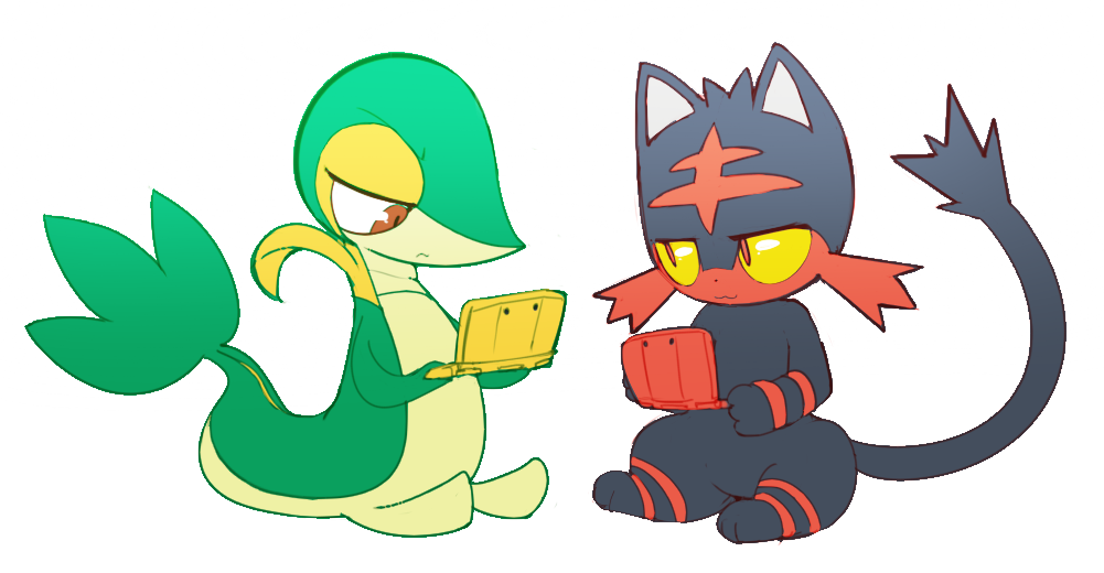 Snivy and Litten playing 3DS